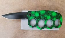green and black skull 4.5 spring assist knife with finger guards 511GNSC