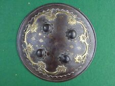 Fine early 19th century Indo-Persian / Islamic dhal shield - gold & brass work