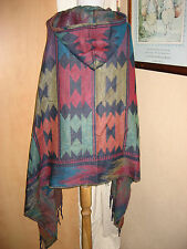 Job Lot 10 Festival Navaho WRAP PONCHO Wholesale Mexican Blanket Cape Hood