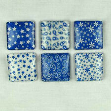 Blue Paisley, Flowers, Stars Set of 6 Glass Magnets in Window Tin Gift Box