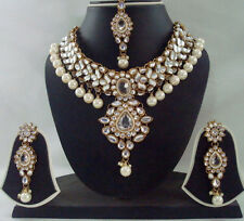 WHITE KUNDAN MEENA PEARL GOLD TONE BOLLYWOOD CHOKER NECKLACE JEWELRY SET 4 PCS