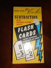 Vintage Flash Cards Subtraction Gelles Widmer 1958 testing sheets Parent Teacher