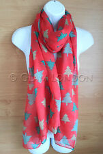 Christmas Tree Scarf Bright Red Festive Soft Wrap Green Trees Ladies Womens Gift