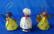 "lot of 3 vintage cone shaped 3"" Angel Christmas ornaments SPAIN felt gold foil"