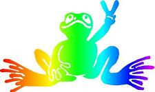 Peace Frog decal bumper sticker. funny, love, hippie Rainbow LGBT coexist