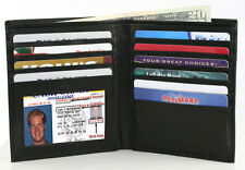 BLACK GENUINE LEATHER Mens Hipster Big Wallet Card Holder Bifold Wallet 12 Slot