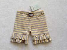 Persnickety Summer 2012 YELLOW GRAY Stripe Ruffle Shorts Size 4 NWT NEW