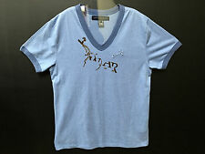 FCUK French Connection Large 100% Cotton Blue Men Short Sleeve Vneck Tee T-Shirt