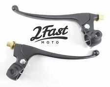 "Brake Clutch Lever Set with Perch Black Powdercoated Alloy 7/8"" Bobber NEW"