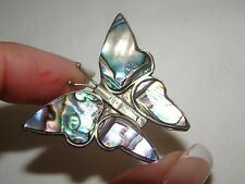 Vintage Mexico Alpaca Silver and Abalone Butterfly Bug Brooch Pin 1 1/2""