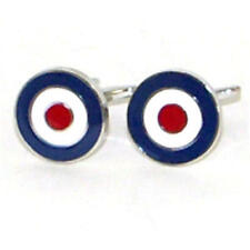 Blue, White & Red Raf Roundel Cufflinks With Gift Pouch British Forces Pilot