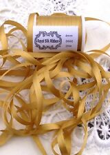 100%SILK EMBROIDERY RIBBON  ~GOLD~ COLOR # 660  4mm 10 YDS