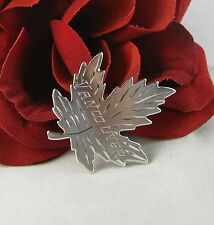 Sterling Silver Vancouver Sparkling Leaf  Pin Brooch FERAL  CAT RESCUE