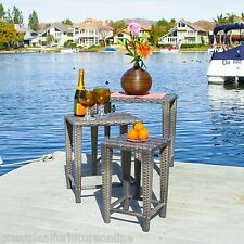 Outdoor Patio Furniture 3pc Grey PE Wicker Nested Side Tables