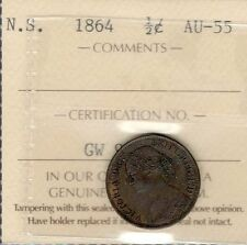 1864 Nova Scotia Half 1/2 Cent Certified AU-UNC Scarce HIGH Grade NS Victoria ½¢
