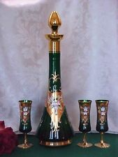 "16""TL Vntg GREEN GOLD Glass Decanter ELEGANT Shape Glasses FLOWERS MURANO ITALY"