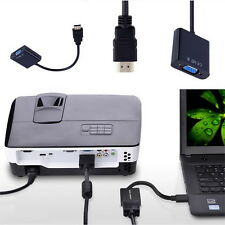 HDMI To VGA Converter Adapter With Audio Cable For Laptop PC DVD TV F UR