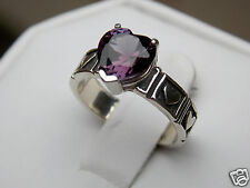purple raspberry alexandrite antique 925 sterling silver heart ring size 7 USA