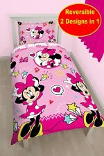 NEW DISNEY MINNIE MOUSE STYLE PINK SINGLE DUVET QUILT COVER GIRLS BEDDING SET