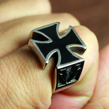 Men's Crusader Knights Templar Iron Cross Pattée Stainless Steel Biker Ring Rock