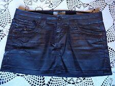 Punk New wave 80's metal biker distressed waxed coated black denim mini skirt M