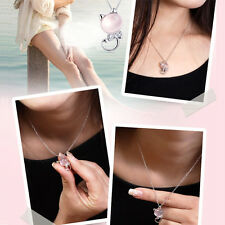 1Pc Elegant Cat Pendant Pink Natural Stone Necklace Chain Jewelry Decoration