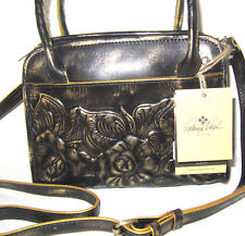 Patricia Nash Italian Leather Paris Satchel Tooled Gold Brown Crossbody NWT $169