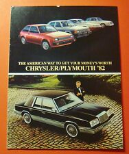 1982 CHRYSLER/PLYMOUTH MODEL LINEUP SHOWROOM SALE BROCHURE ..12- PAGES