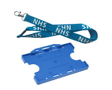 Blue NHS 20mm Lanyard with Safety Breakaway (Optional Double-Sided Cardholder)