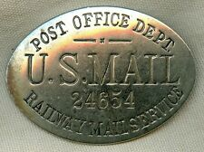 Rare Circa 1900 Post Office Dept. Railway Mail Service Hat Badge