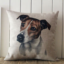 "18"" Jack Russell Terrier Dog Vintage Linen Cushion Cover Pet Home Decoration"