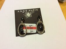 $28 Anne Klein Black Stone/Diamond Clip-On Drop Earrings 309
