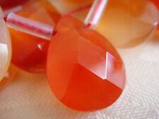 """12x16mm Faceted Teardrop Briolette Shape Carnelian 7""""-8"""" INCH Stones Beads !&"""