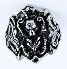 mEN'S skull stainless steel hell demon Devil rose flower  bone rings SIZE11