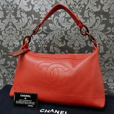 Rise-on Vintage CHANEL CAVIAR SKIN Red Wood Chain Handbag Shoulder Bag #1548