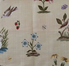 MARVIC Lampas Elizabeth cotton viscose floral birds Remnant New