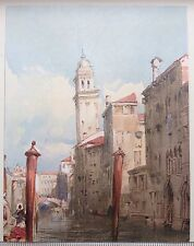 """ORIGINAL 1902 'THE STUDIO' WATER-COLOUR PRINT"""" VIEW ON A CANAL """" BY R. BONINGTON"""