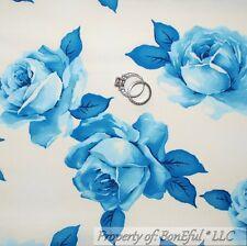 BonEful Fabric FQ Cotton Quilt VTG White Blue Flower Rose Cottage Lg Shabby Chic