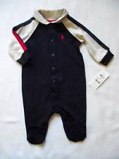 NEW Ralph Lauren Boys Navy Blue Romper Baby Grow Suit 0-3m