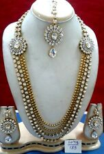 WHITE STONE GOLDEN BEADS 4pcs BOLLYWOOD BROOCH LONG RANI HAAR NECKLACE SET~~009