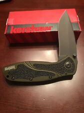 Kershaw Blur 1670OLBLK Olive Handle Black Plain Edged Ships Free NIB