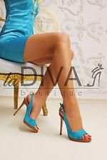 MICHELE SOZIO ~ Italy Wildleder Pumps Peep Toe 39 türkis blau cognac Leder Heels