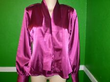 NEW NWT DIALOUGE 10 M SHINY SILKY WET LOOK SATIN TOP SHIRT DRESS SUIT BOW BLOUSE