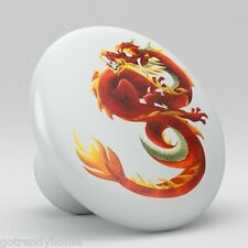 Chinese Dragon Ceramic Knobs Pulls Kitchen Drawer Cabinet Vanity Closet 543