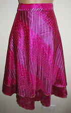 New Satin Sari Wrap Skirt 8 10 12 14 16 - Hippy Boho Ethnic Fairly Traded