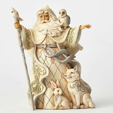 One Love For All White Woodland Santa with Cane & Animals Jim Shore Figurine