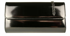 New Metallic Shimmer Clutch Bag Patent Faux Leather Womens Evening Wedding Prom
