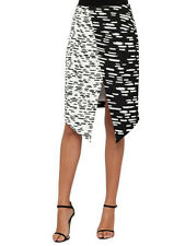 Cameo Black & White Tic Tac Print Asymmetrical Split Skirt NEW S M L XL NEW