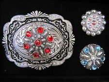 ANDWEST - Women's Belt Buckle Set - Blue, AB and Red Rhinestone Motifs - BGS974