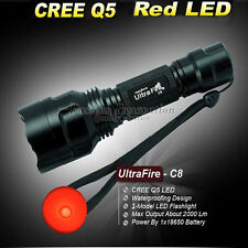 1 Model UltraFire CREE Q5 18650 2000 Lumens C8 LED Flashlight Torch Red Lamp